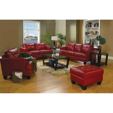 Leatherette Sofa With Tufted Seat And Back, Red