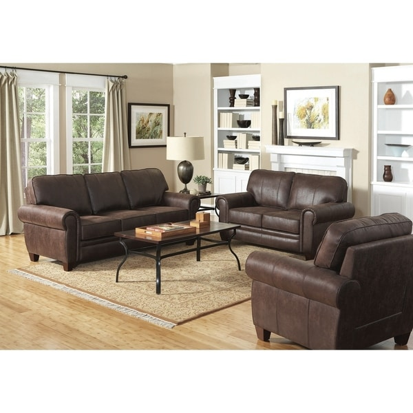 Three Seat Sofa With Leather Upholstery Dark Brown