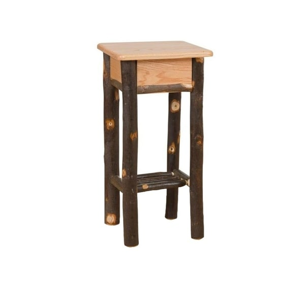 Rustic Hickory Phone Stand Tall End Table
