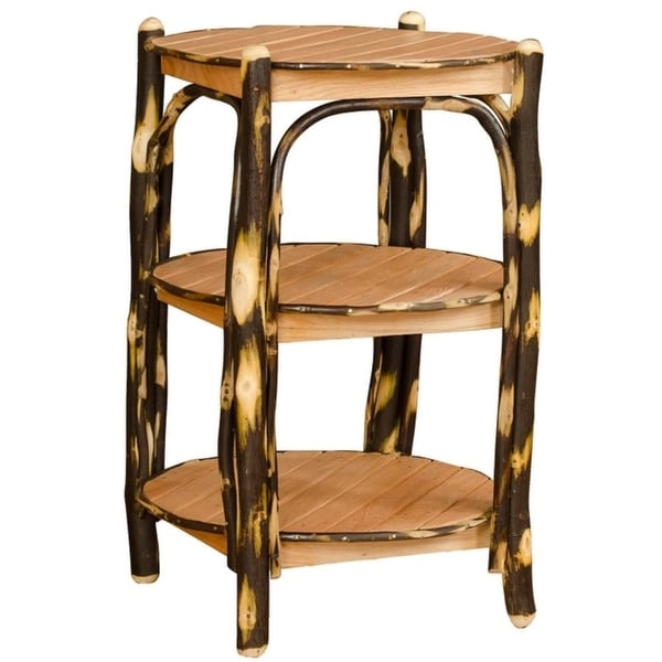 Rustic Hickory 3 Tier Round End Table