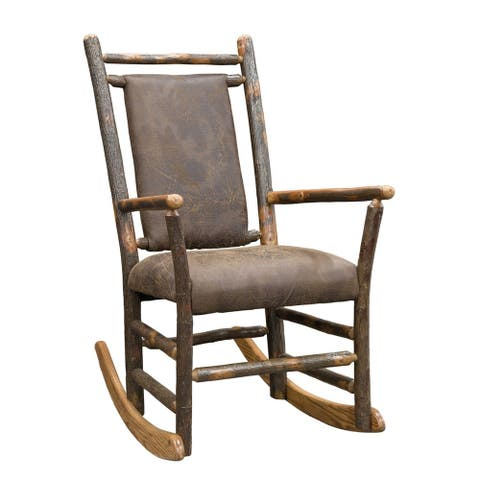 Rustic Hickory Rocking Chair with Faux Brown Leather Seat and Back