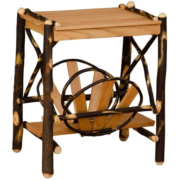 Ordinaire Rustic Hickory End Table With Storage Rack