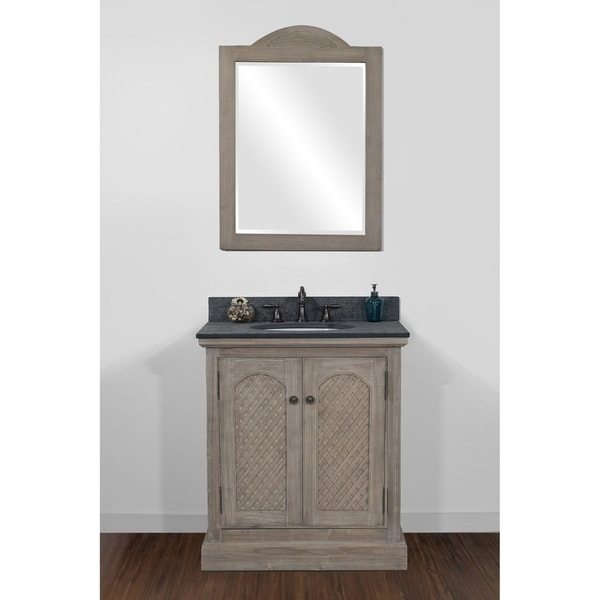 """31""""Rustic Solid Fir Single Sink Vanity with Polished Textured Surface Granite Top-No Faucet"""