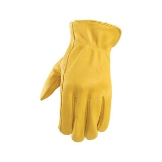Wells Lamont Yellow Men's Large Leather Driver Gloves