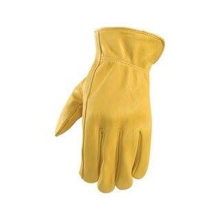 Wells Lamont Yellow Men's Medium Leather Driver Gloves