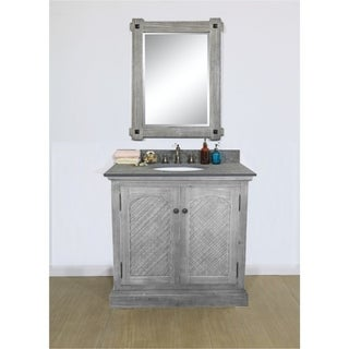 """31""""Rustic Solid Fir Single Sink Vanity in Grey Finish with Polished Textured Surface Granite Top-No Faucet"""