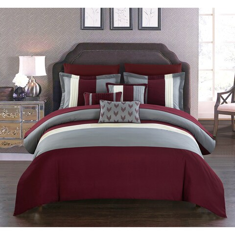Chic Home Hester 10 Piece Bed in a Bag Comforter Set, Burgundy