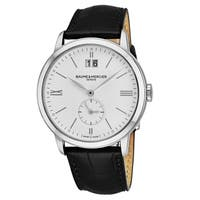 Baume & Mercier Men's MO 'Classima' White Dial Black Leather Strap GMT Swiss Quartz Watch