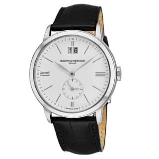 Baume & Mercier Men's MO 'Classima' White Dial Black Leather Strap GMT Swiss Quartz Watch