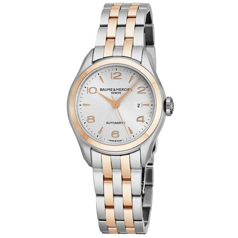 Baume Mercier Women's MO 'Clifton' Silver Dial Stainless Steel/18K Rose Gold Swiss Automatic Watch