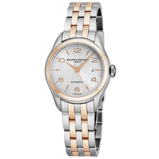 Baume Mercier Women's MOA10152 'Clifton' Silver Dial Stainless Steel/18K Rose Gold Swiss Automatic Watch