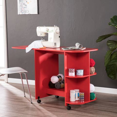 Eastwick Farmhouse Red Sewing Table/Craft Station - farmhouse red