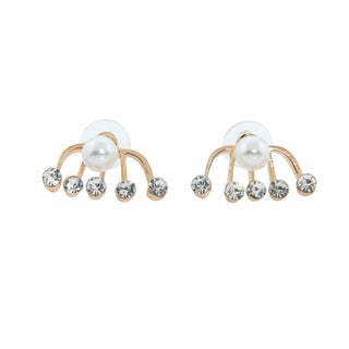 Eternally Haute 14k Gold plated Pearl and Crystal Ear Jacket/Cuff