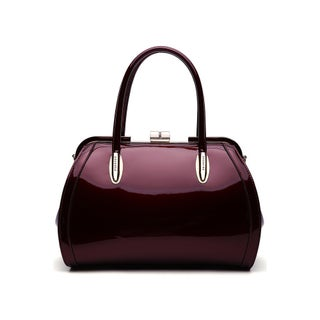 MKF Collection by Mia K Farrow Marlene Patent Satchel Handbag (Option: Burgundy)