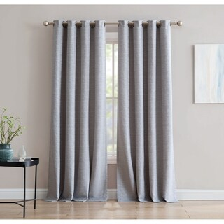 Mei Textured 84-inch Jacquard Window Curtain with Metal Grommets, Grey - Single Panel, Inspired Surroundings by 1888 Mills