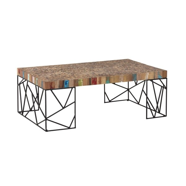 Reclaimed Boat Wood Coffee Table: Shop Aurelle Home Rustic Reclaimed Boat Wood Coffee Table