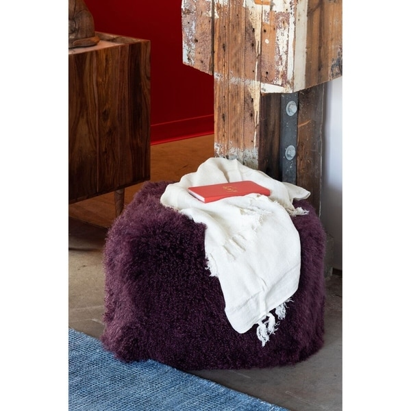 Shop Aurelle Home Purple Lamb Ottoman On Sale Free