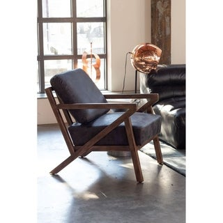 Aurelle Home Mid-Century Modern Leather Accent Chair