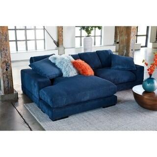Aurelle Home Polk Blue Sectional Sofa
