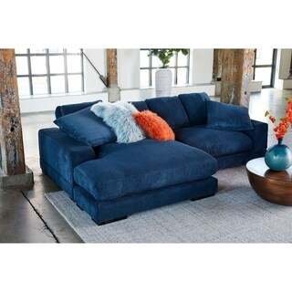 Aurelle Home Soft Modern Blue Reversible Chaise Sectional Sofa