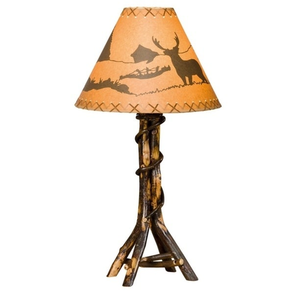 Rustic Hickory Twisted Log Table Lamp