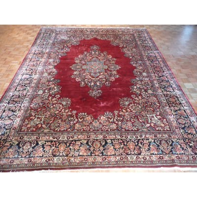 """Hand Knotted Red Sarouk with Wool Oriental Rug - 10'5"""" x 13'11"""""""
