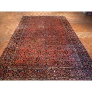 Hand Knotted Red Sarouk with Wool Oriental Rug