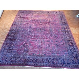 "Hand Knotted Red Sarouk with Wool Oriental Rug (11'10"" x 14'3"")"