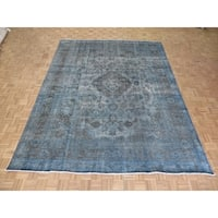"""Hand Knotted Sky Blue Tabriz with Wool Oriental Rug - 9'8"""" x 12'8"""""""
