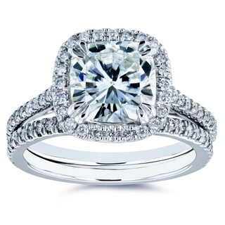 Annello By Kobelli 14k White Gold 2 2 5ct TGW Cushion Forever One Moissanite And Diamond Halo Bridal Rings Set DEF VS GH I
