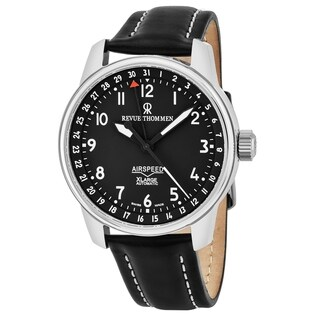 Revue Thommen Men's 16050.2537 'Air Speed' Black Dial Black Leather Strap Date Swiss Automatic Watch