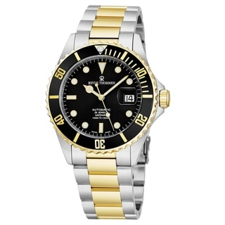 Revue Thommen Men's 17571.2147 'Diver' Black Dial Stainless Steel/Goldtone Bracelet Swiss Automatic Watch