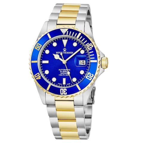 Revue Thommen Men's 17571.2145 'Diver' Blue Dial Stainless Steel/Goldtone Bracelet Swiss Automatic Watch