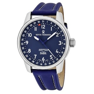 Revue Thommen Men's 'Air Speed XL' Blue Dial Blue Leather Strap Pointer Date Swiss Automatic Watch