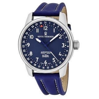 Revue Thommen Men's 16050.2535 'Air Speed XL' Blue Dial Blue Leather Strap Pointer Date Swiss Automatic Watch