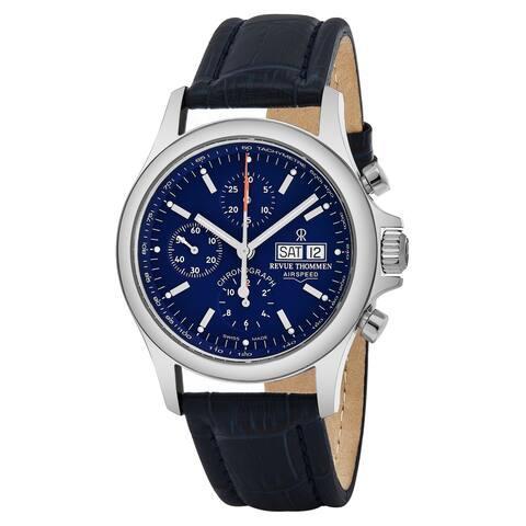 Revue Thommen 17081.6535 'Pilot' Blue Dial Blue Leather Strap Chronograph Swiss Automatic Watch