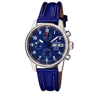 Revue Thommen Men's 16051.6535 'Auto Chronograph' Blue Dial Blue Leather Strap Date Day Swiss Automatic Watch