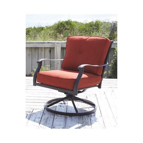 Signature Design By Ashley Burnella Orange Swivel Chairs Set Of 2
