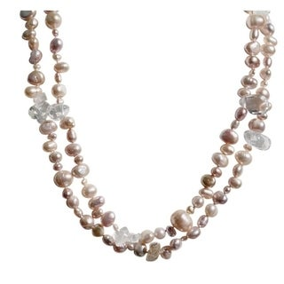 Long Strand Pink Peach and Mauve Pearl Necklace