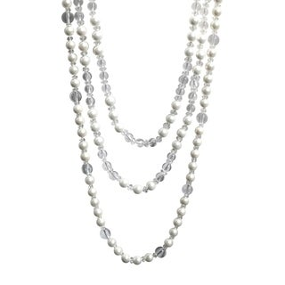 3 Strand Mother of Pearl with Crystal Necklace - White