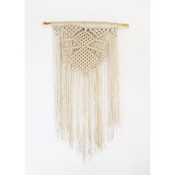 Beige Diamond Handmade Woven Tapestry Wall Hanging