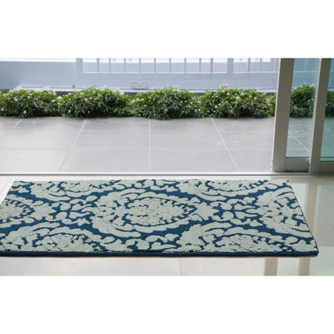 Jean Pierre Dominique Loop Accent Rug, Peacock Blue/Mineral Blue - 2'6 x 4'2