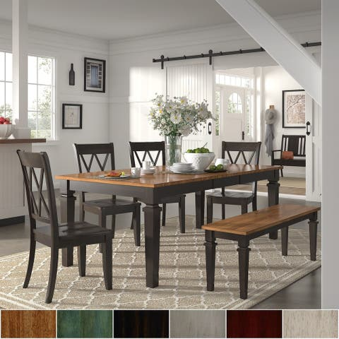 Elena Black Extendable Rectangular Dining Set - Double X Back by iNSPIRE Q Classic