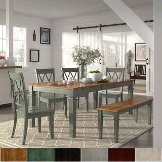 Elena Antique Sage Green Extendable Rectangular Dining Set - Double X Back by iNSPIRE Q Classic
