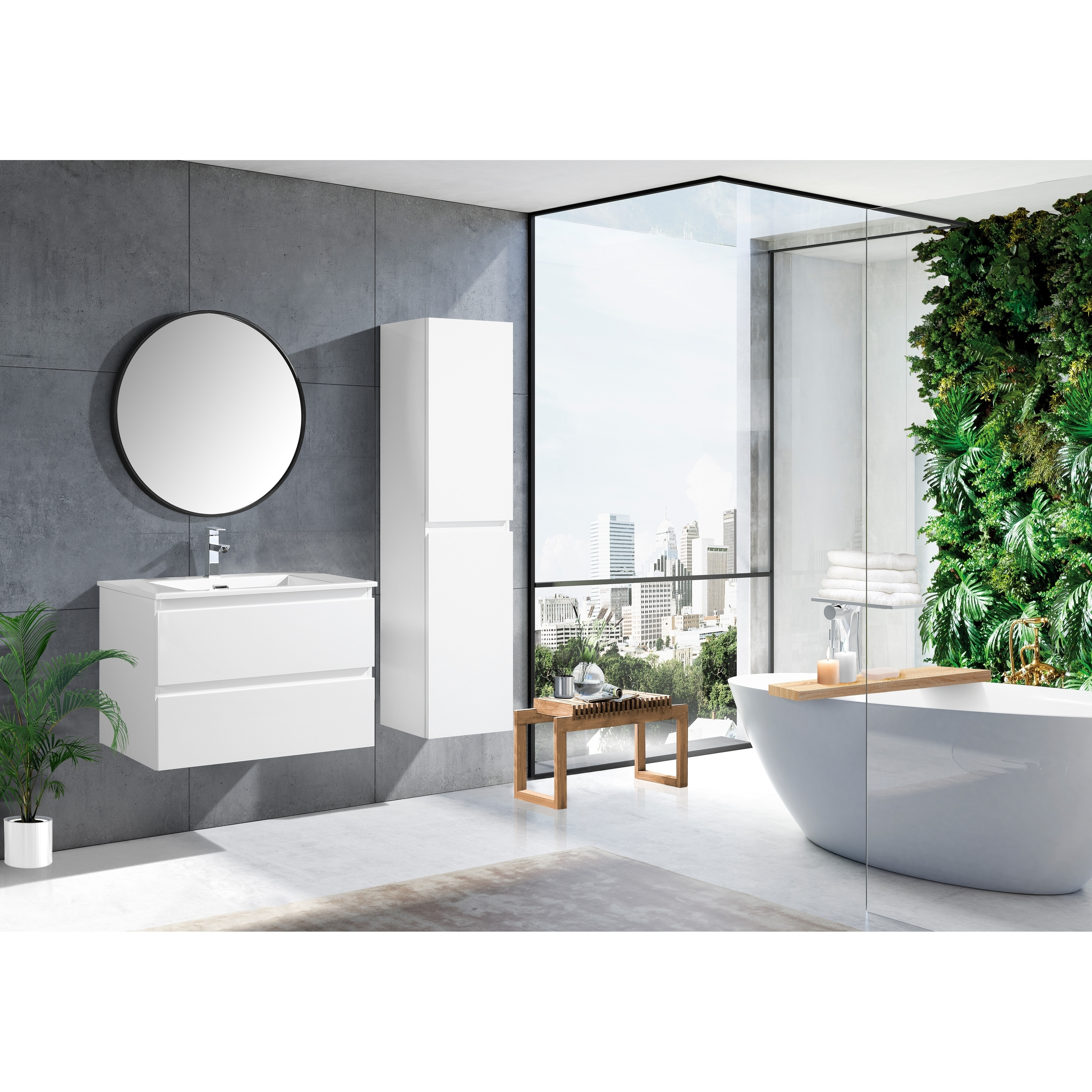 The Frost Collection 30 Inch Floating Modern Bathroom Vanity White Lacquer 30 Ebay