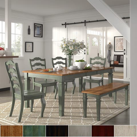 Elena Antique Sage Green Extendable Rectangular Dining Set - French Ladder Back by iNSPIRE Q Classic