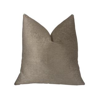Plutus Café au lait Brown and Beige Luxury Throw Pillow