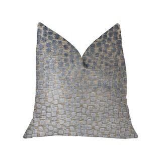 Plutus Dusky Gem Blue and Silver Luxury Throw Pillow