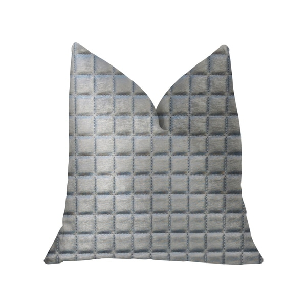 Plutus Silverton Silver Artificial Leather Luxury Throw Pillow