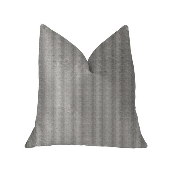 Plutus Fremont Gray and Silver Luxury Throw Pillow